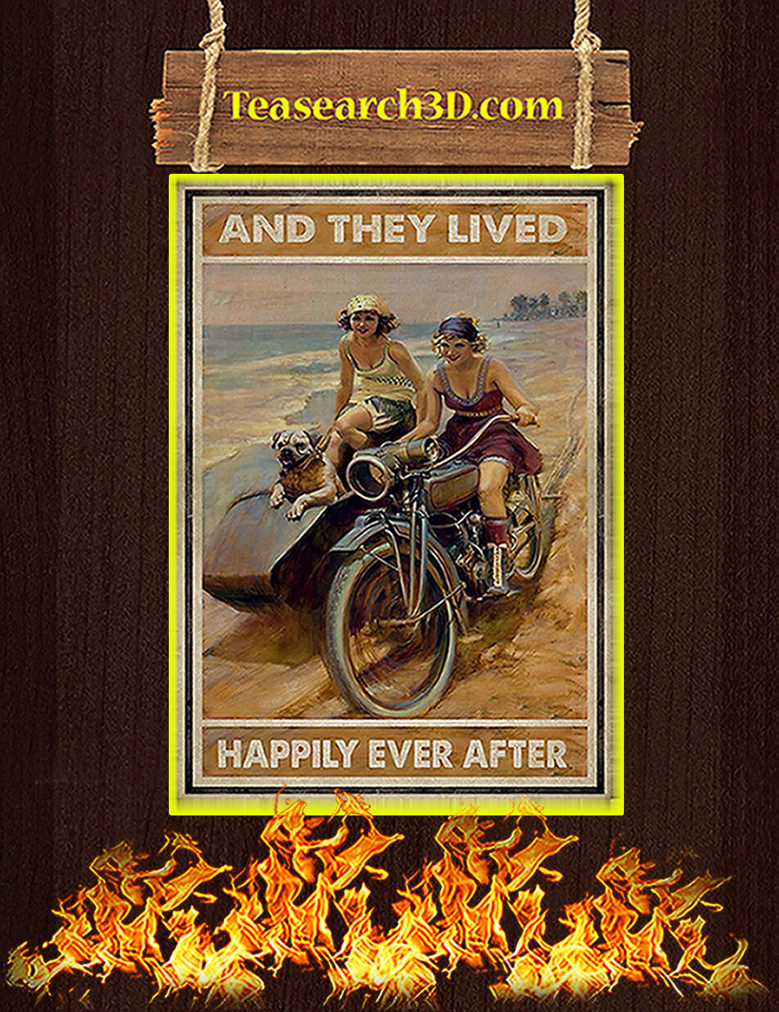 Biker And they lived happily ever after poster A3