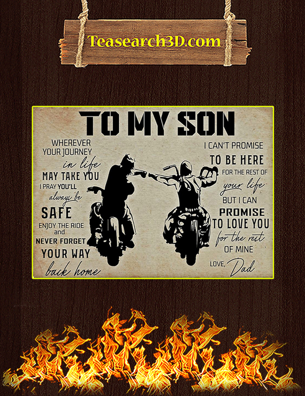 Biker to my son your dad poster A1