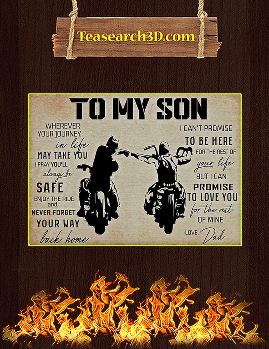 Biker to my son your dad poster A3