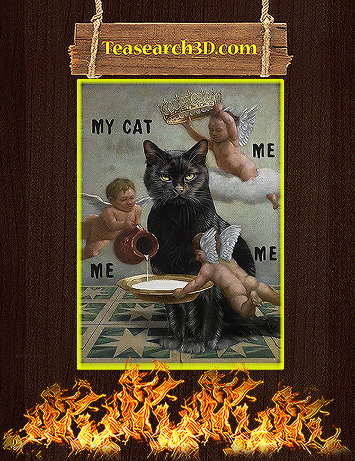 Black cat meme my cat me me me poster A3