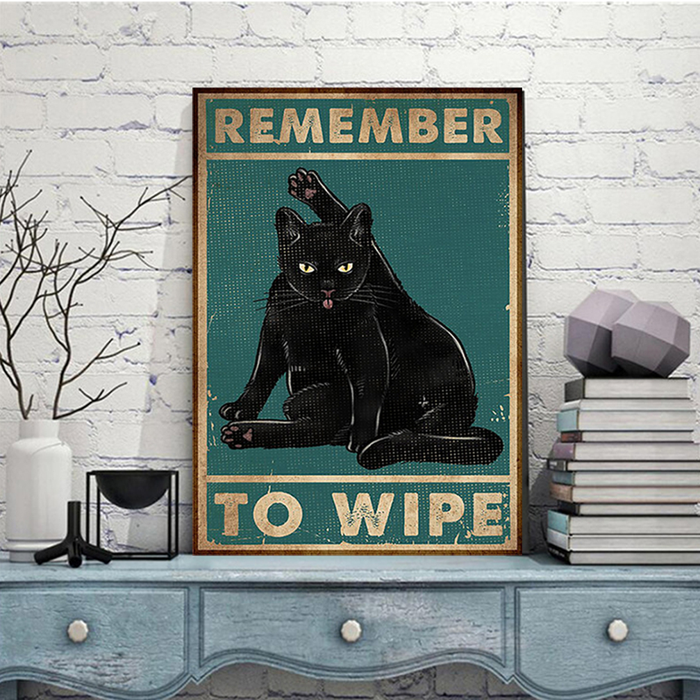 Black cat remember to wipe poster A3