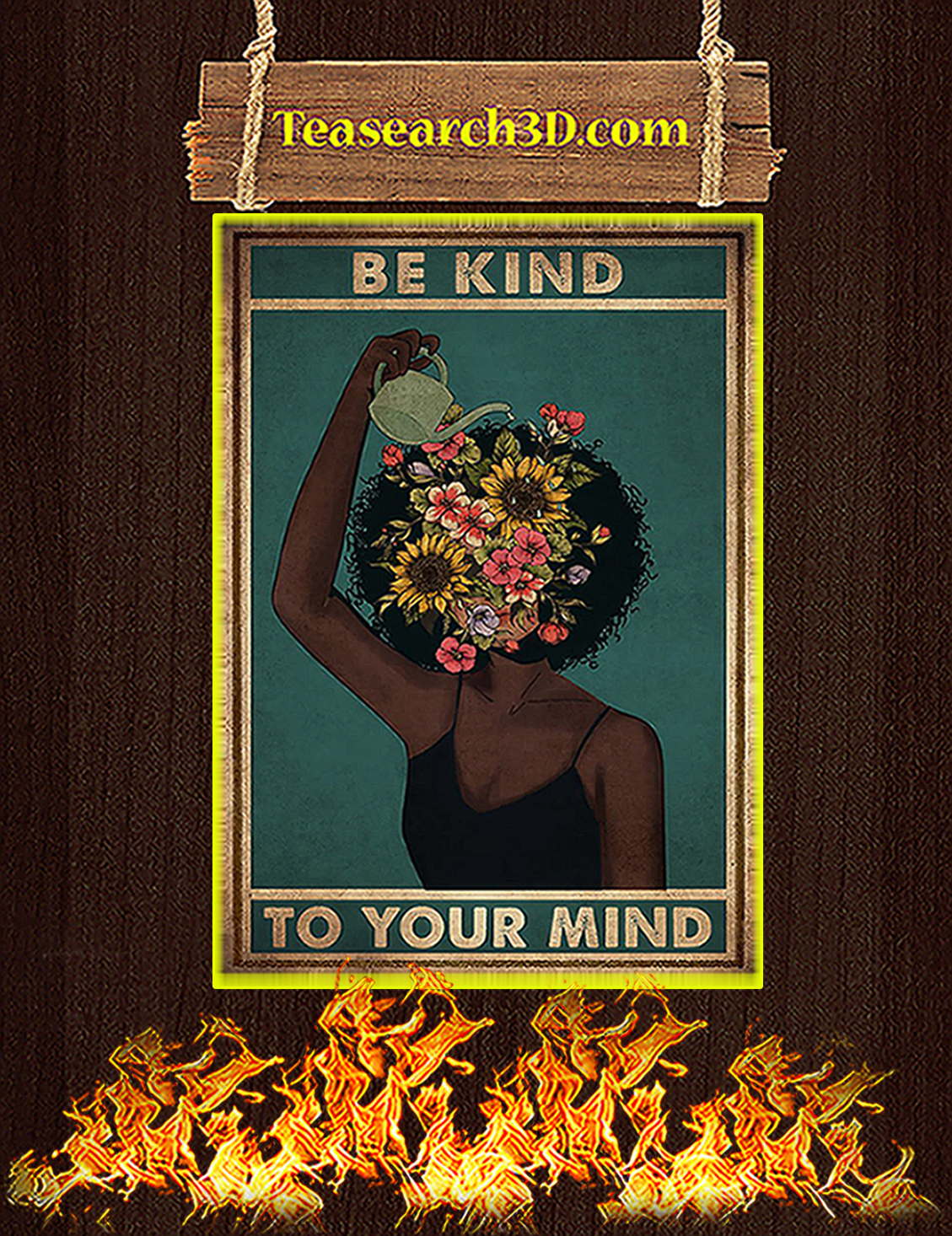 Black girl mental be kind to your mind mental poster A3