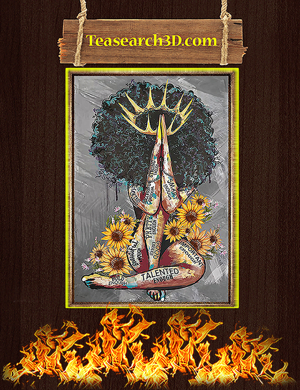Black queen with sunflowers poster A1