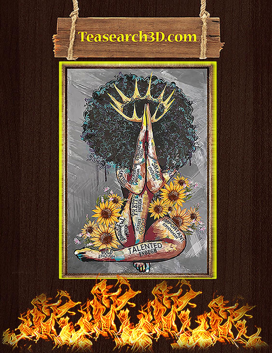 Black queen with sunflowers poster A3