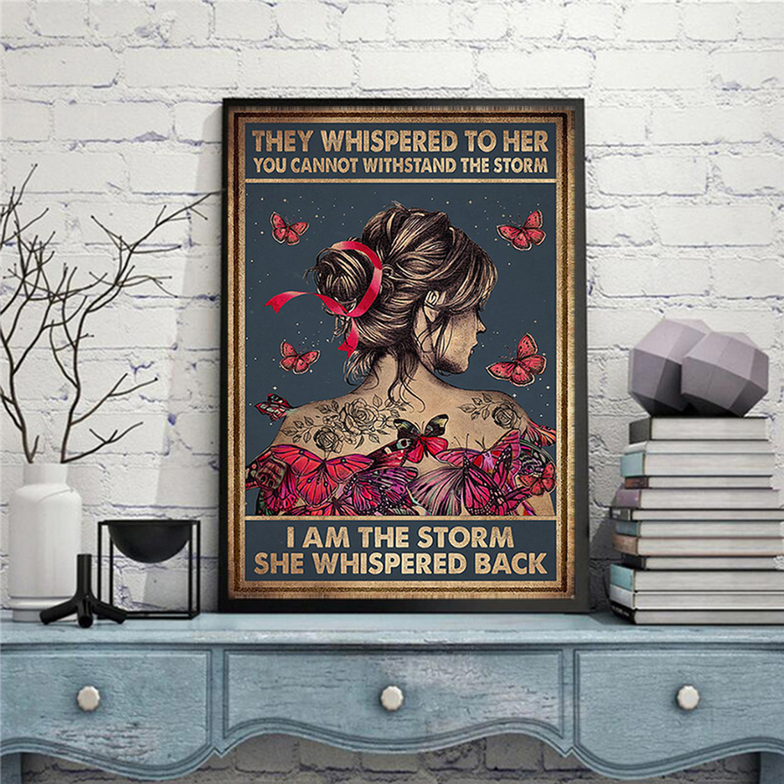 Breast cancer they whispered to her you cannot withstand the storm poster A1