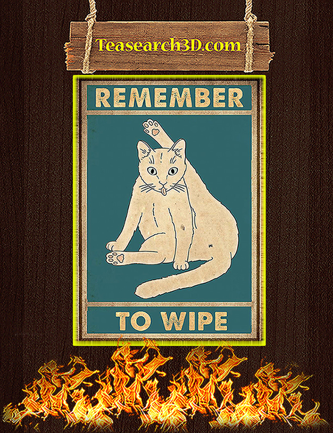 Cat remember to wipe poster A3