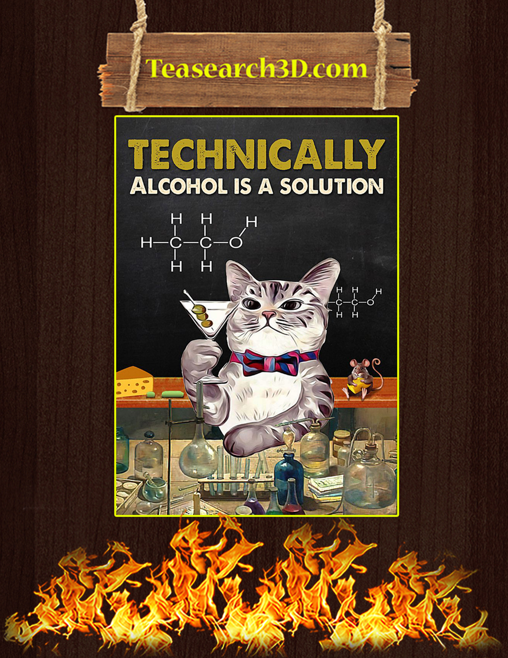 Cat technically alcohol is a solution poster A1