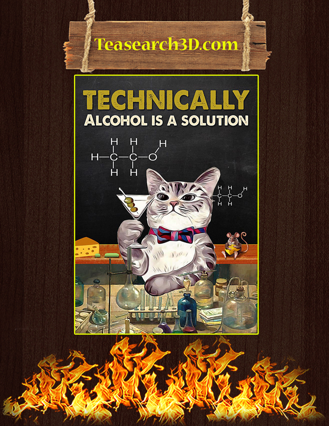 Cat technically alcohol is a solution poster A3