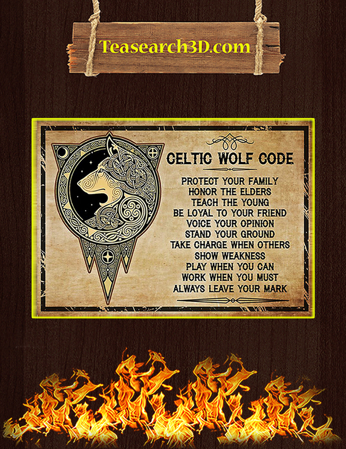 Celtic wolf code poster A3