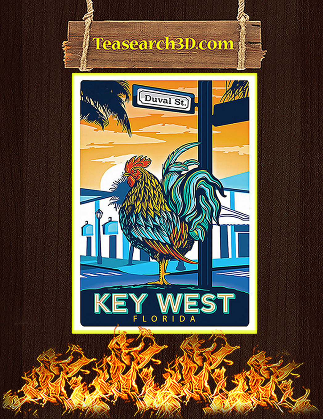 Chicken key west florida duval street poster A1