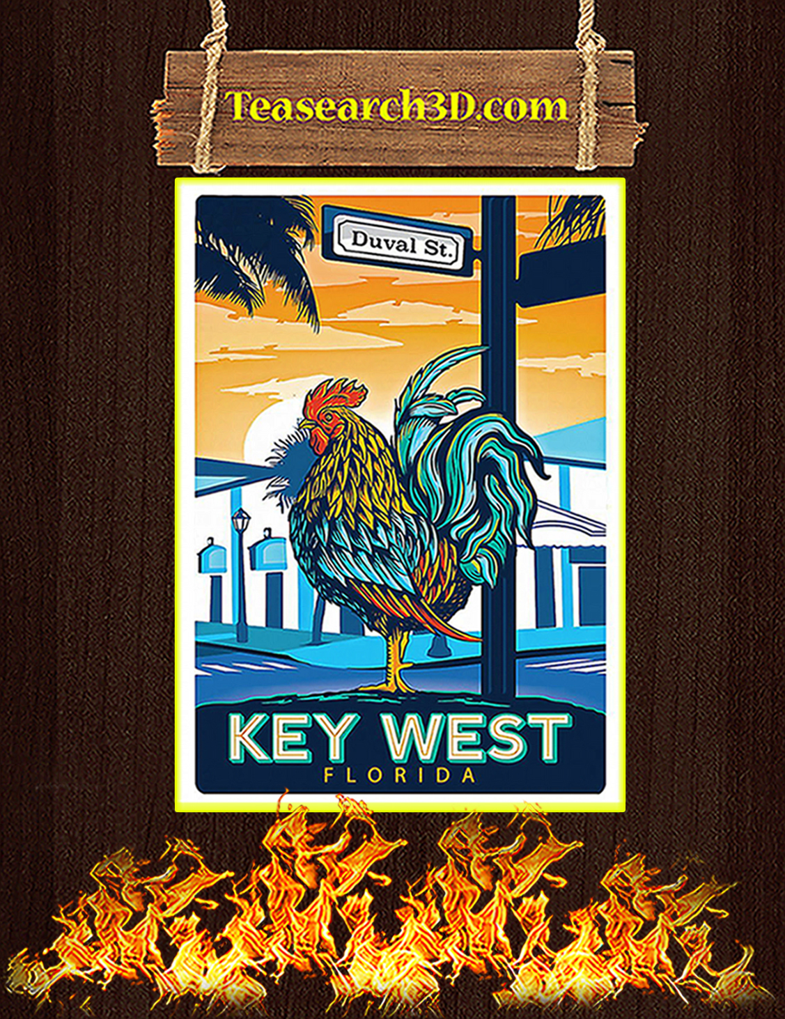 Chicken key west florida duval street poster A3