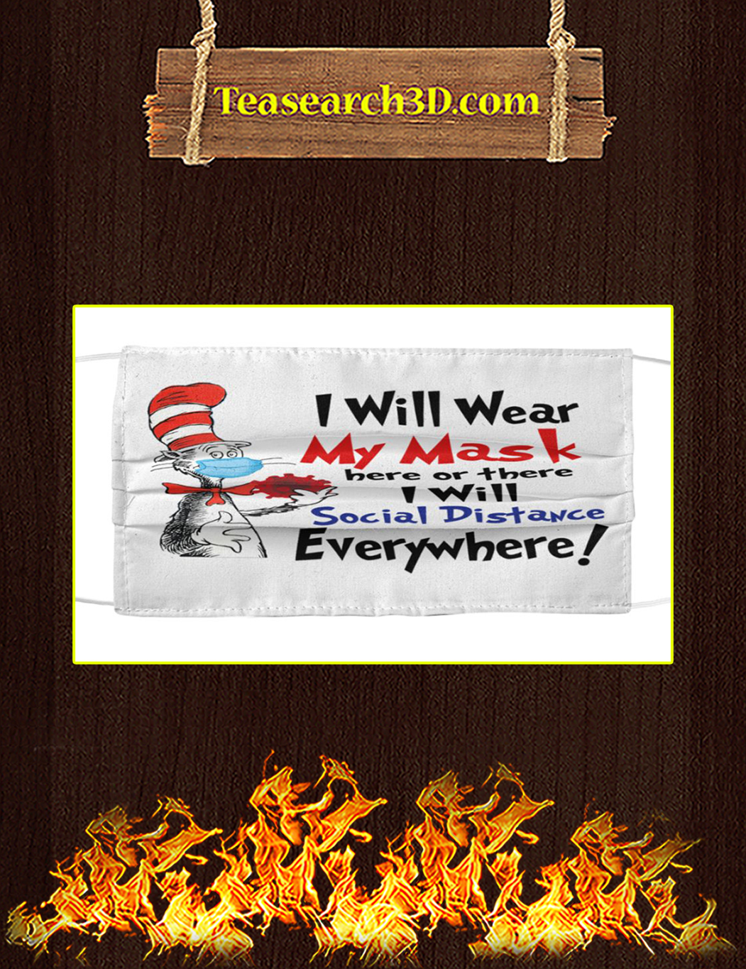 Dr seuss i will wear my mask here or there i will social distance everywhere face mask pack 3