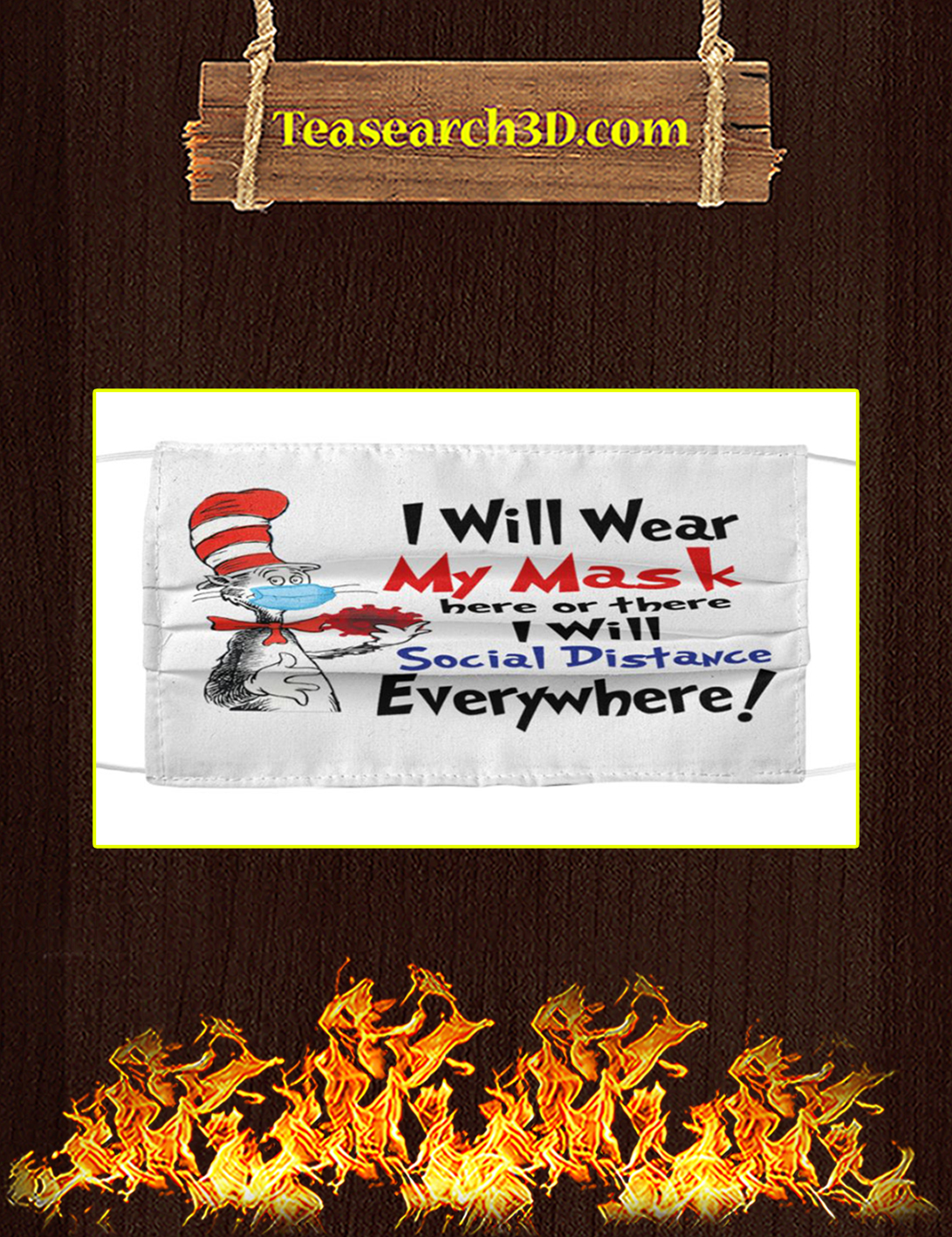 Dr seuss i will wear my mask here or there i will social distance everywhere face mask pack 5