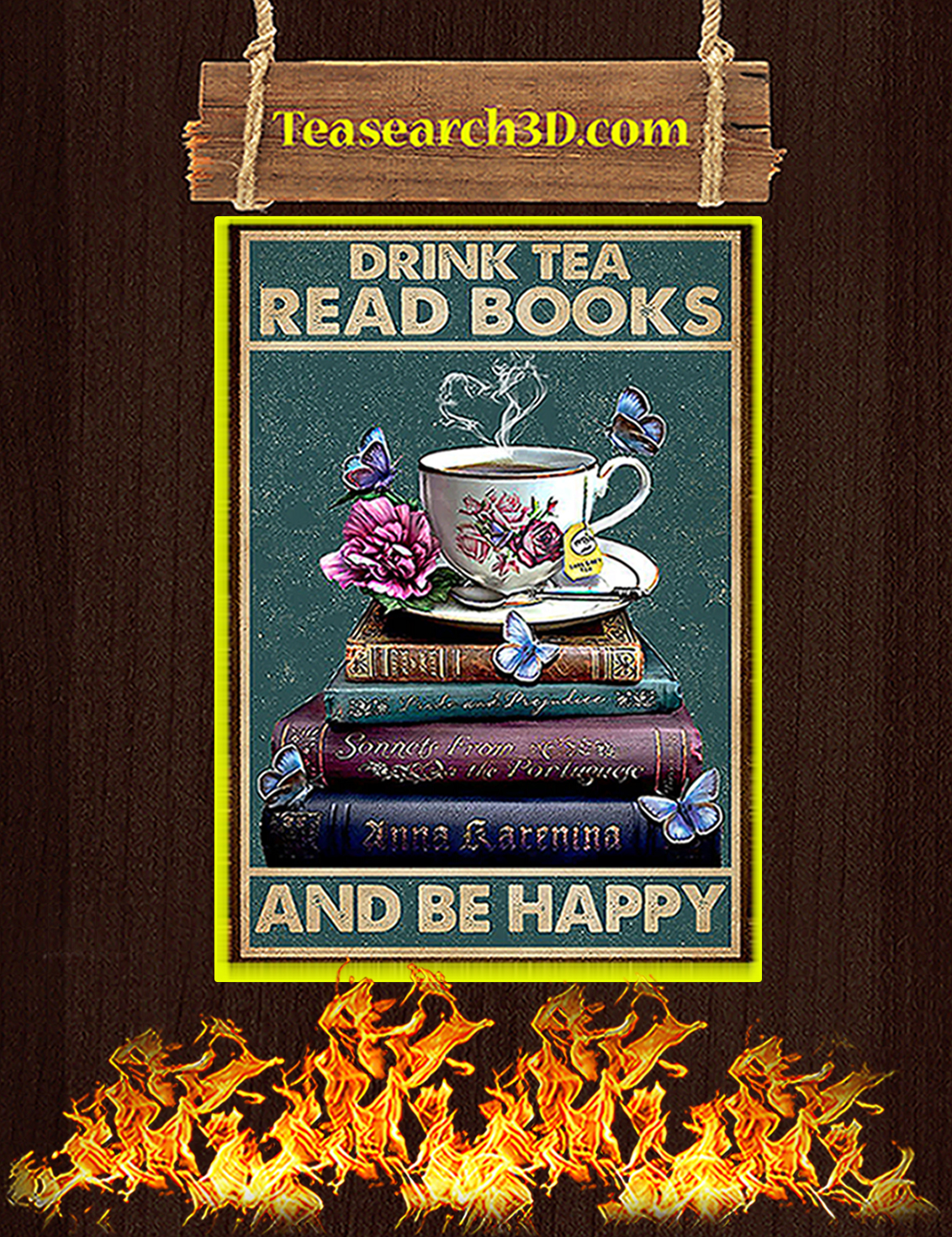 Drink tea read books and be happy poster A3