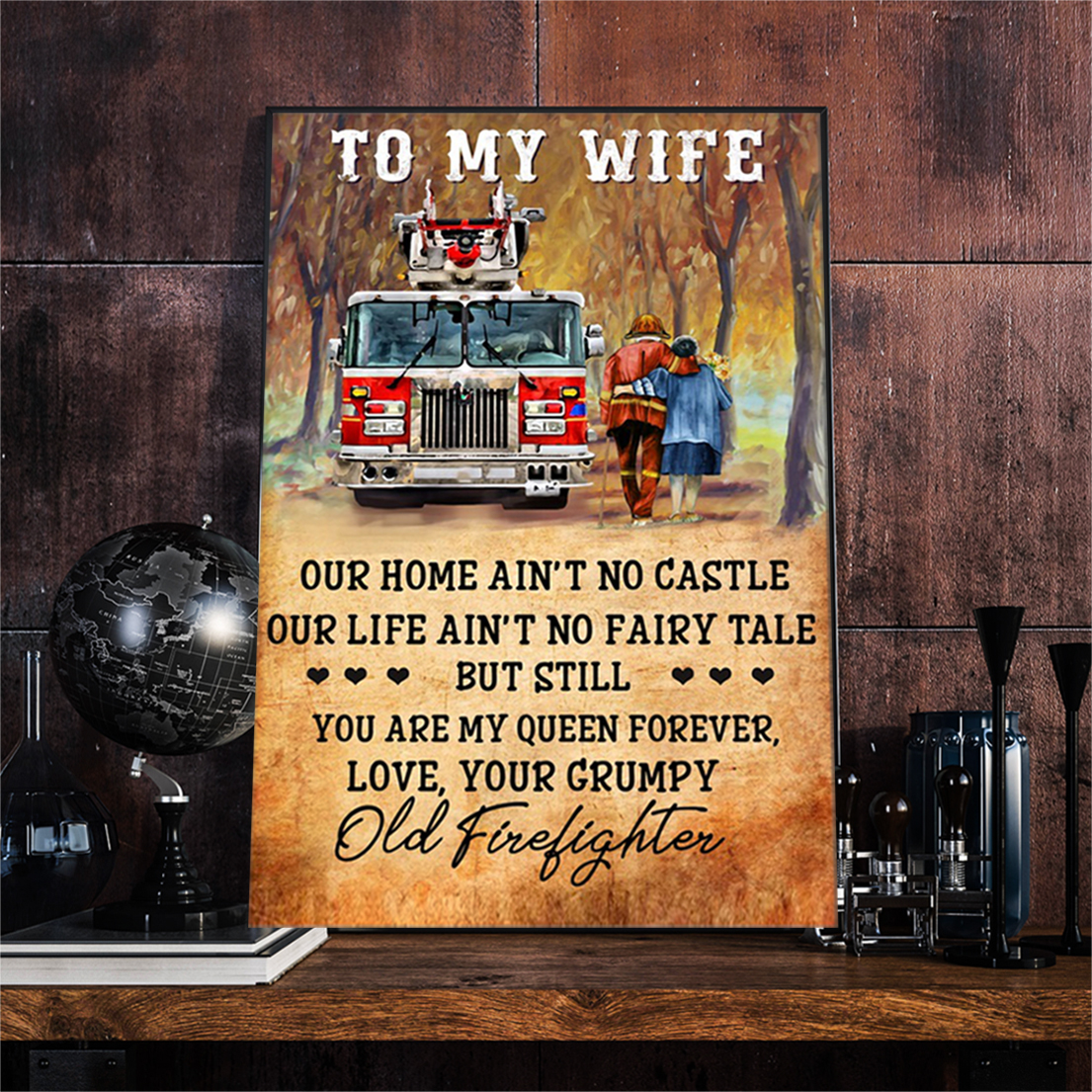 Firefighter couple to my wife poster A2