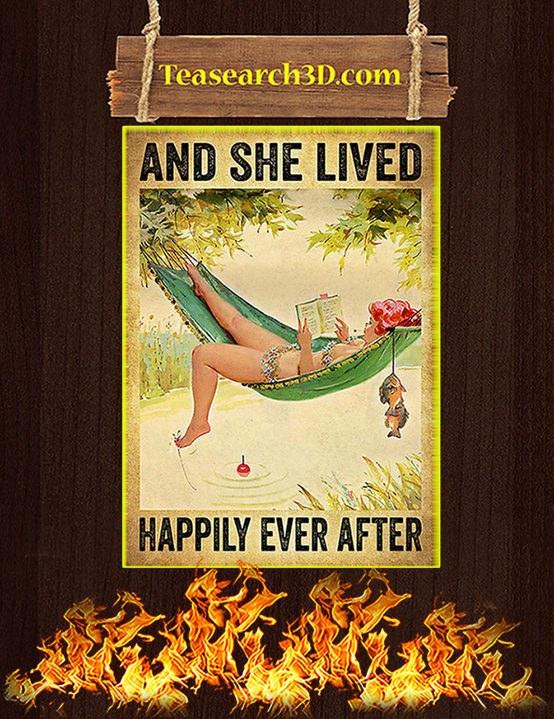 Fishing and she lived happily ever after poster A2