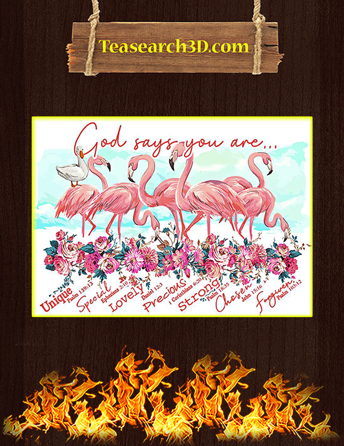 Flamingo flower god says you are poster A3