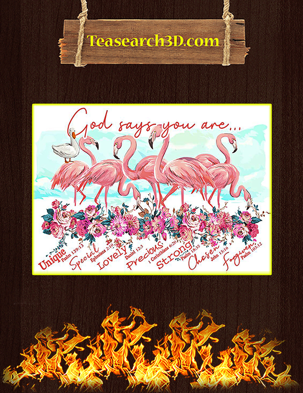 Flamingo god says you are poster A1