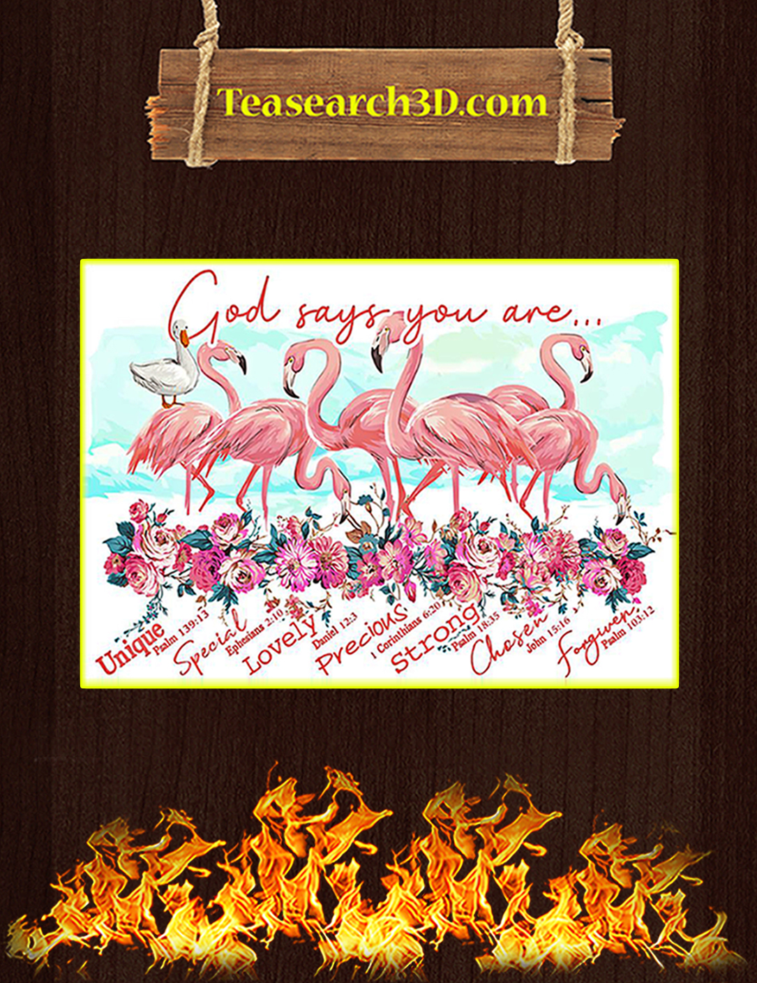 Flamingo god says you are poster A2