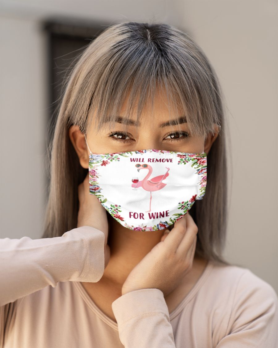 Floral flamingo will remove for wine face mask