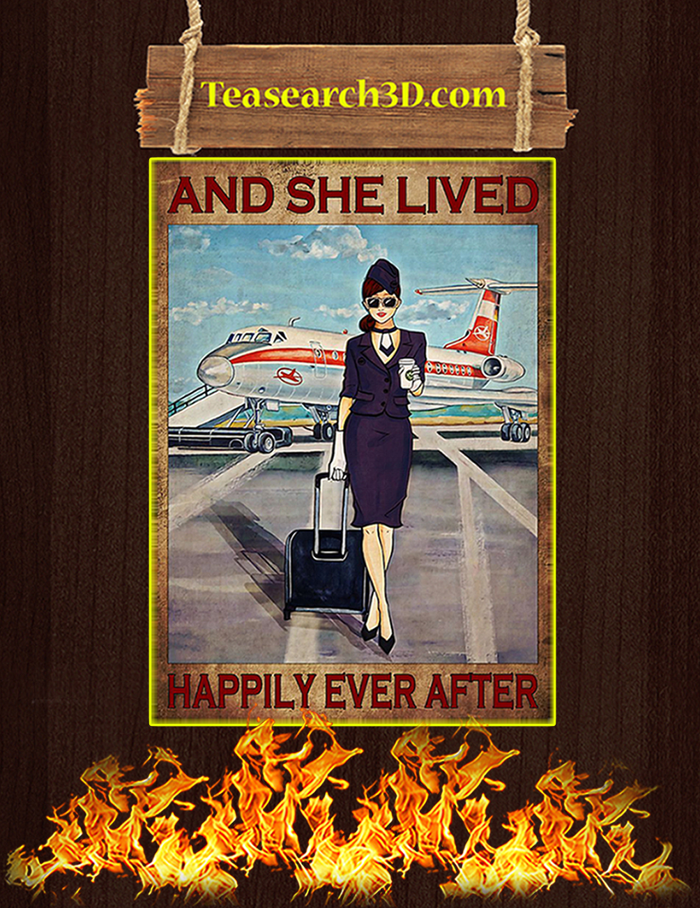 Flight attendant and she lived happily ever after black poster 1