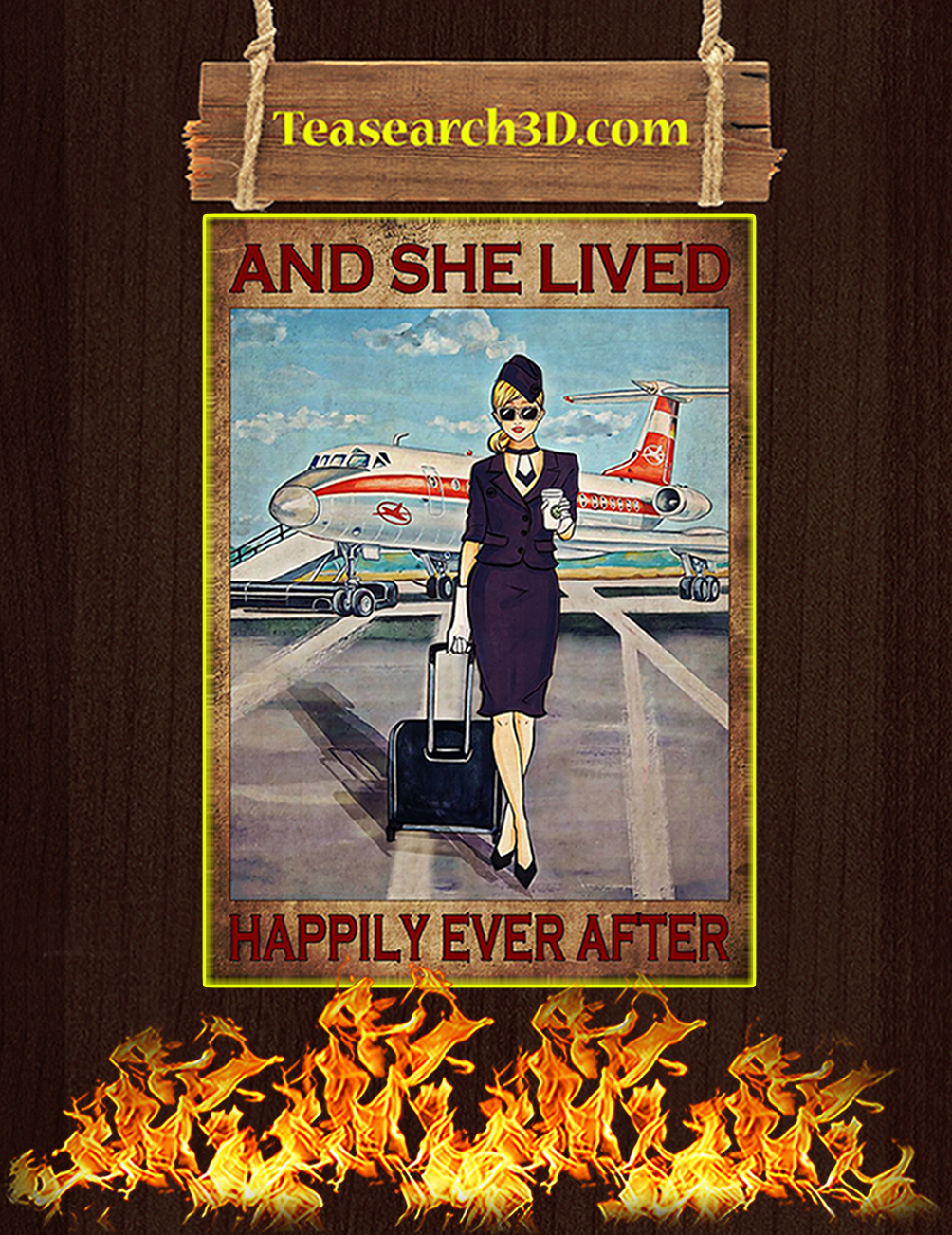 Flight attendant and she lived happily ever after black poster