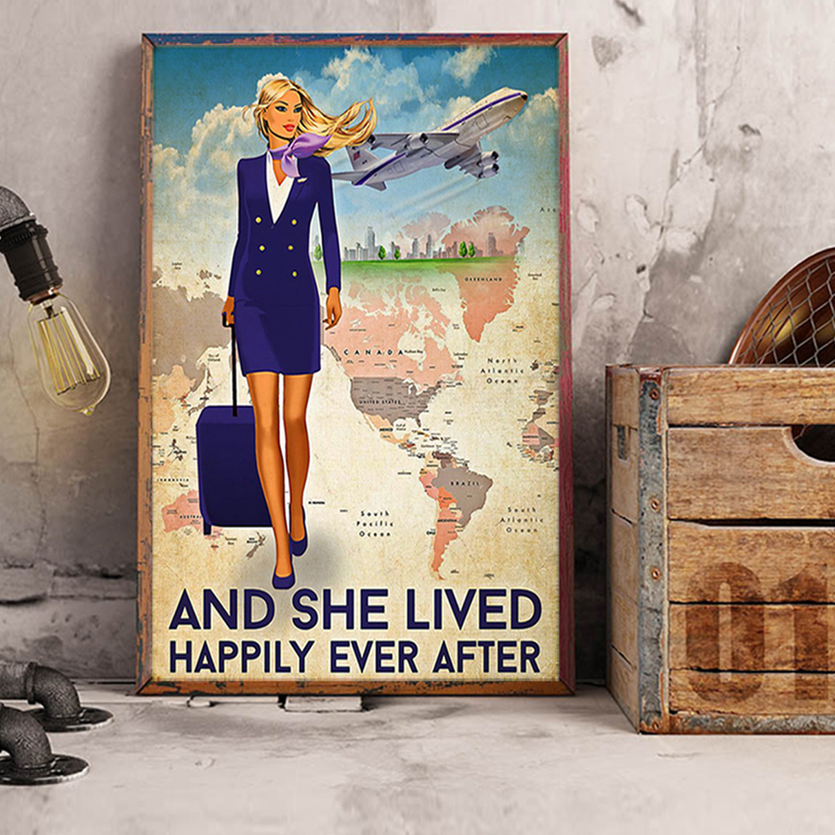 Flight attendant and she lived happily ever after poster A1
