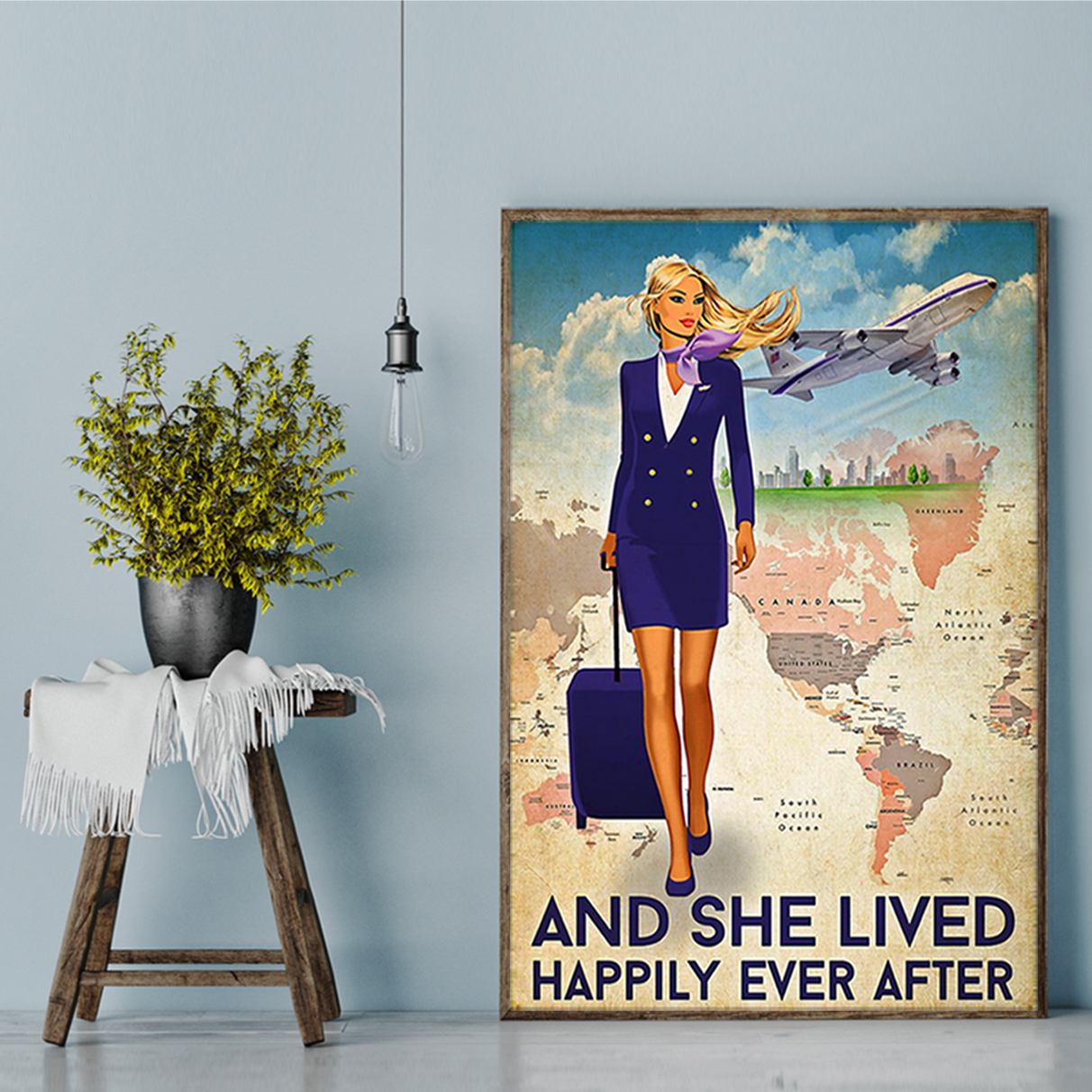 Flight attendant and she lived happily ever after poster A3