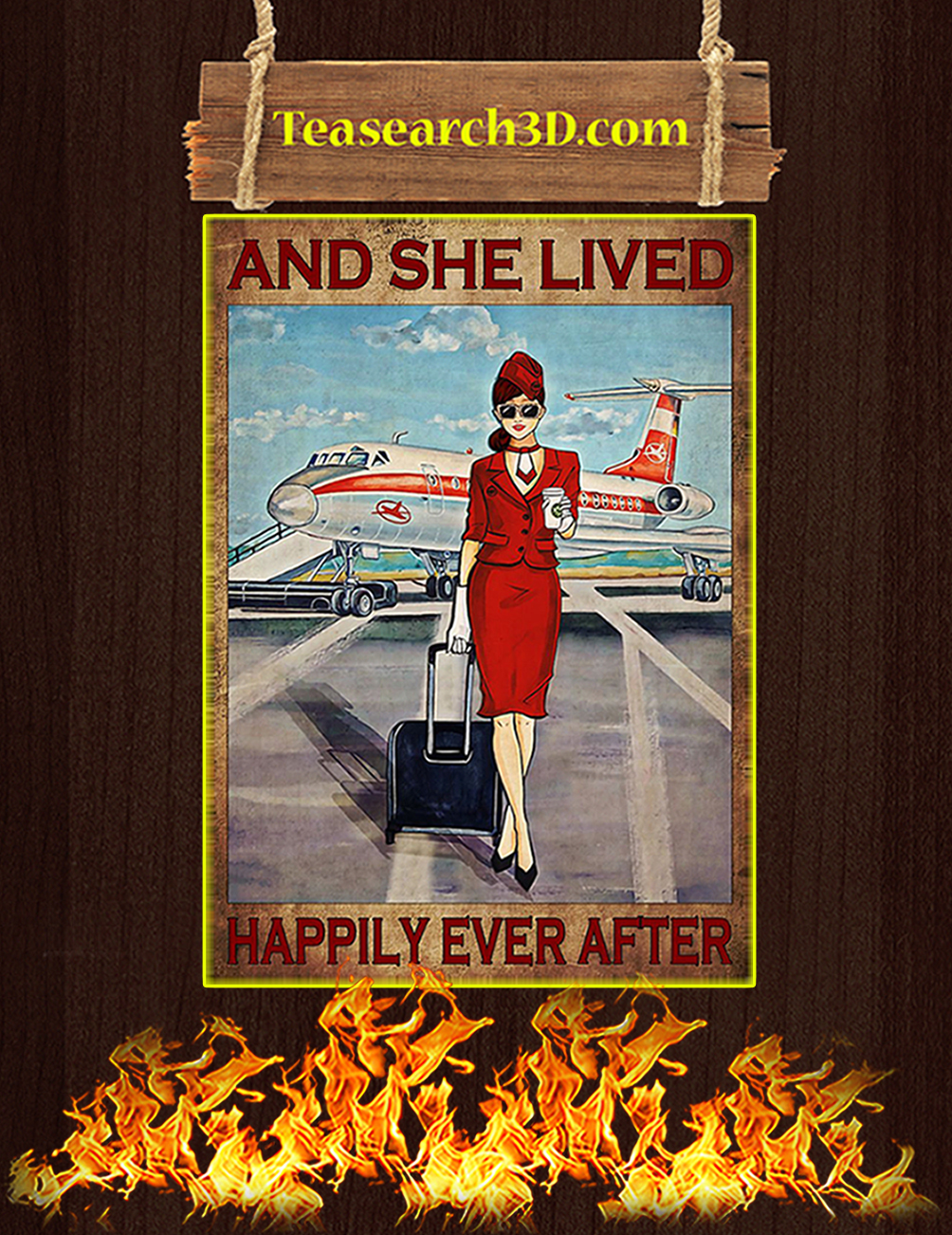 Flight attendant and she lived happily ever after red poster 1