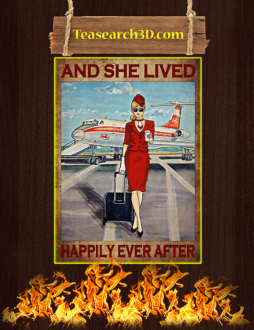 Flight attendant and she lived happily ever after red poster
