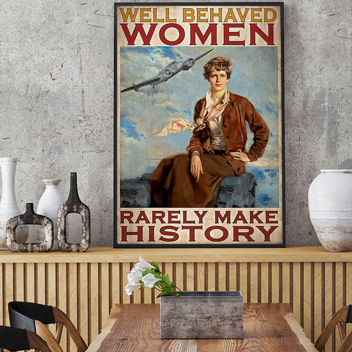 Flight attendant well behaved women rarely make history poster A2