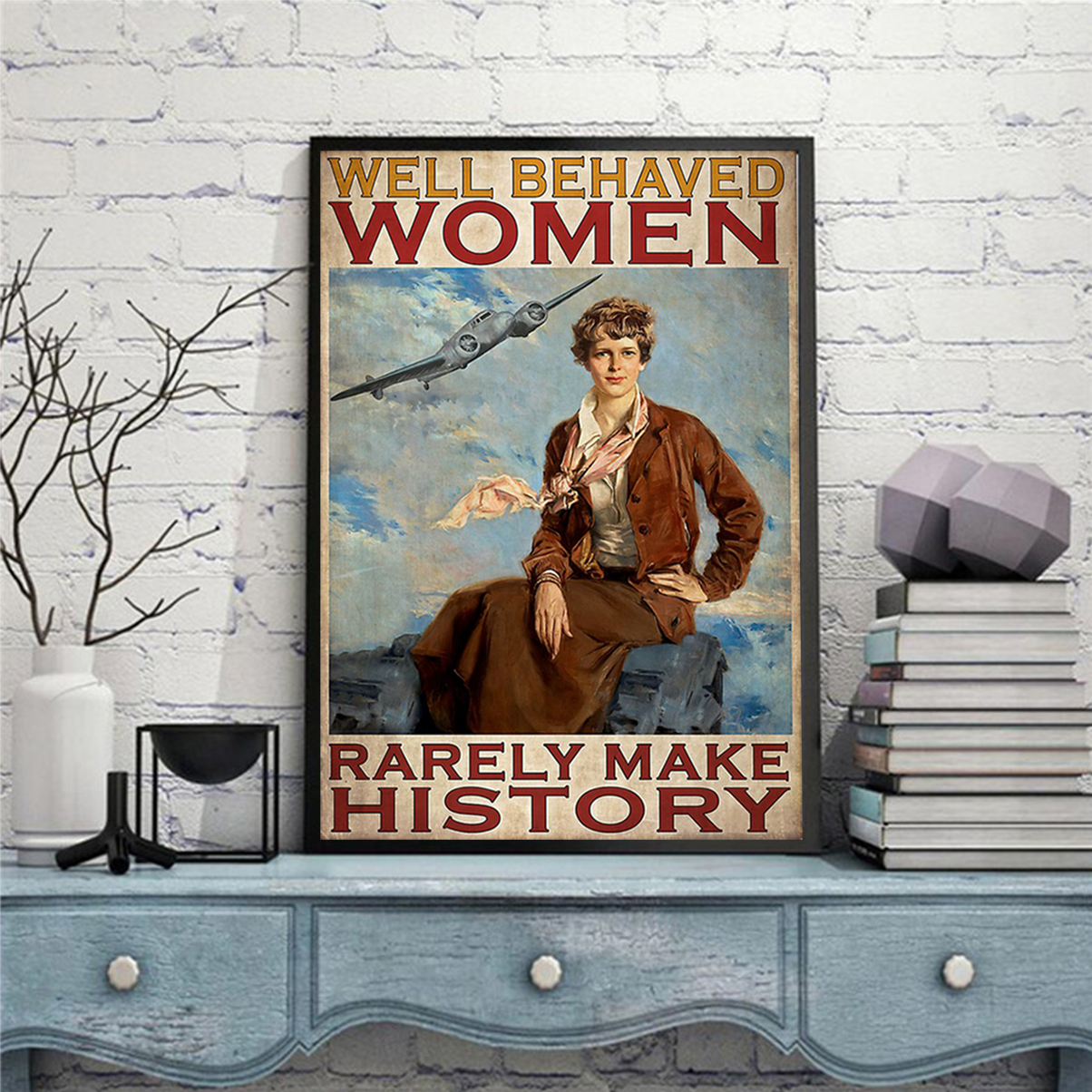 Flight attendant well behaved women rarely make history poster A3