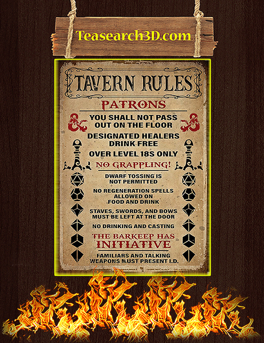 Game tavern rules patrons poster A2