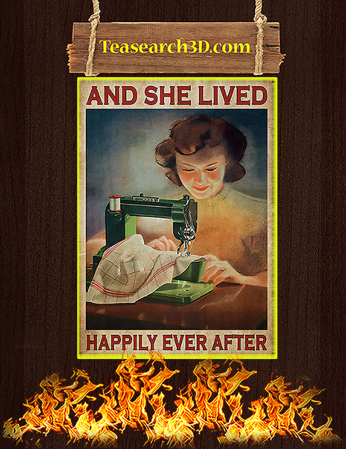 Girl sewing and she lived happily ever after poster A3