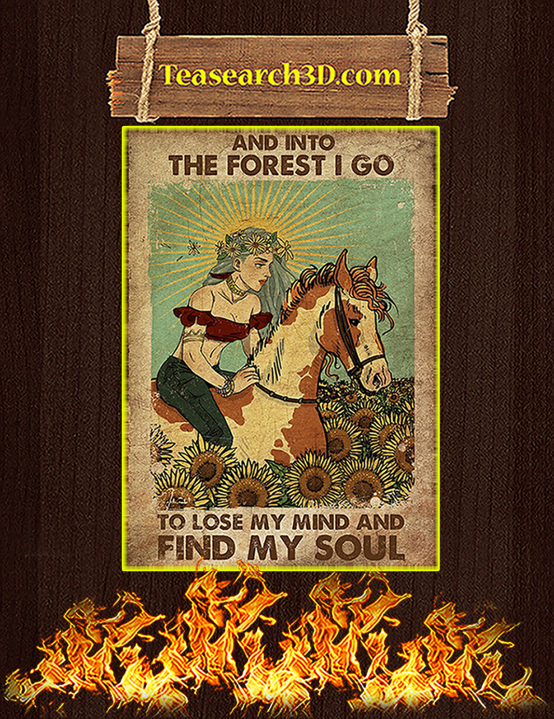 Gypsy girl and horse and into the forest I go to lose my mind and find my soul poster A2