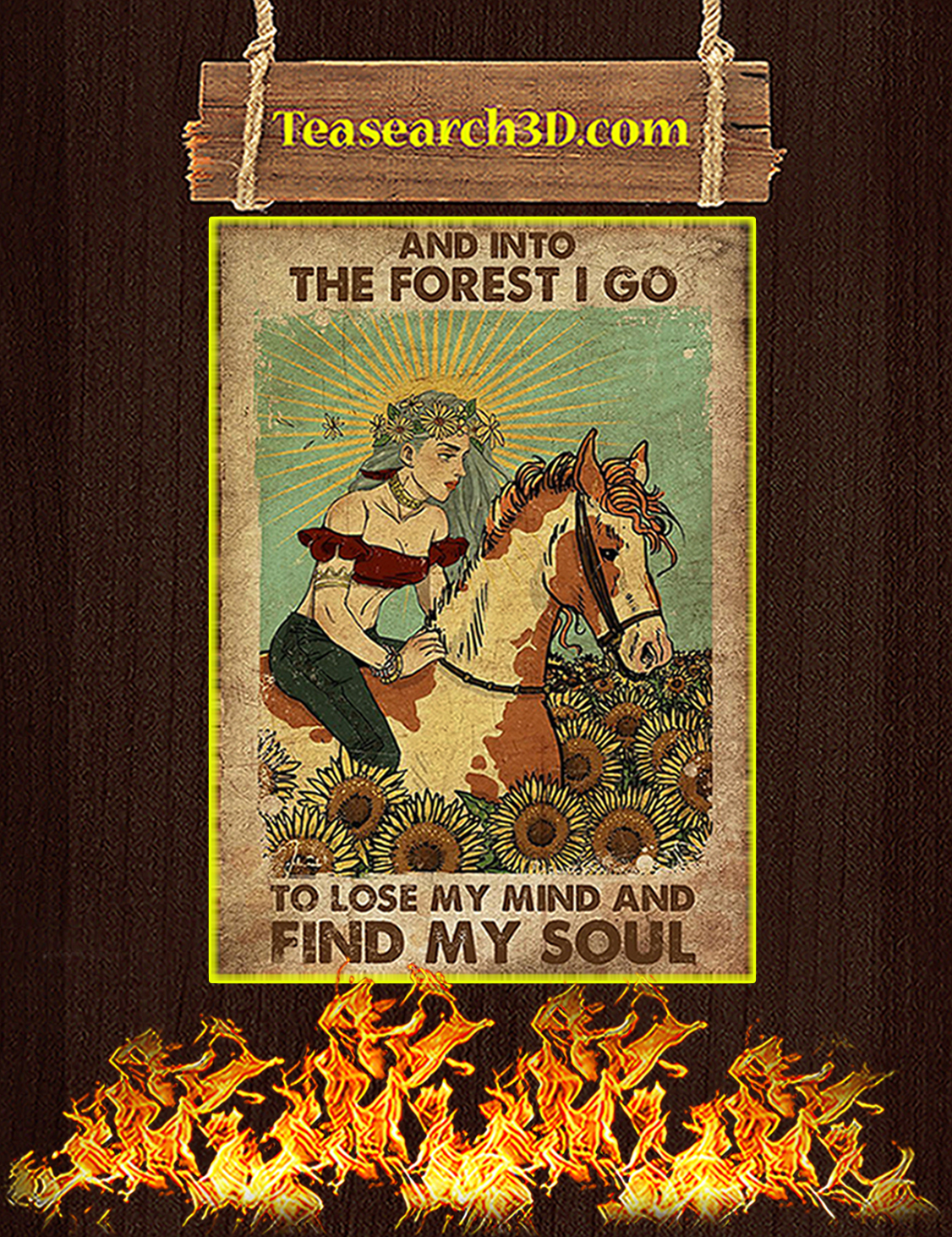 Gypsy girl and horse and into the forest I go to lose my mind and find my soul poster A3