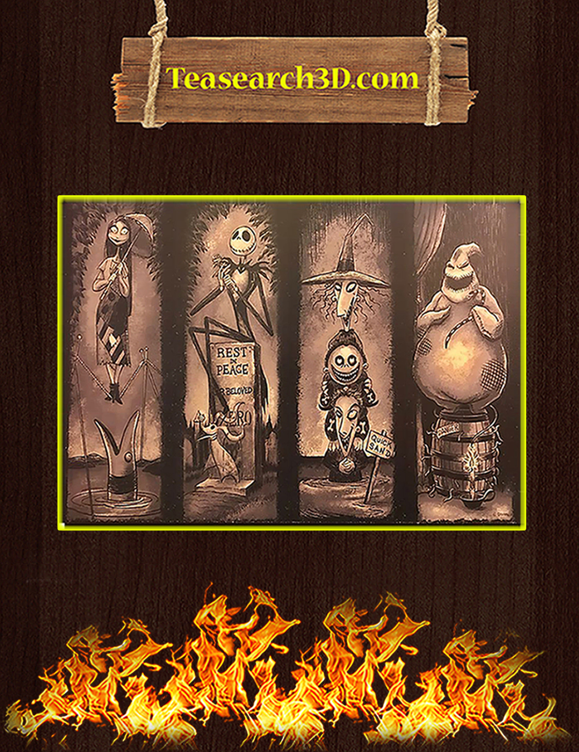 Haunted mansion stretching room nightmare before christmas poster A3