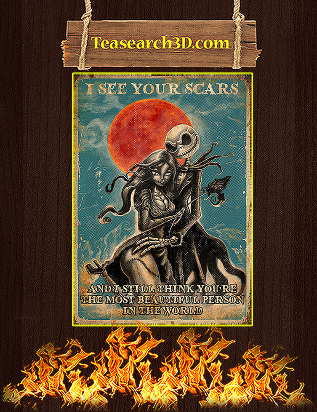 Jack skellington and sally I see your scars poster A2
