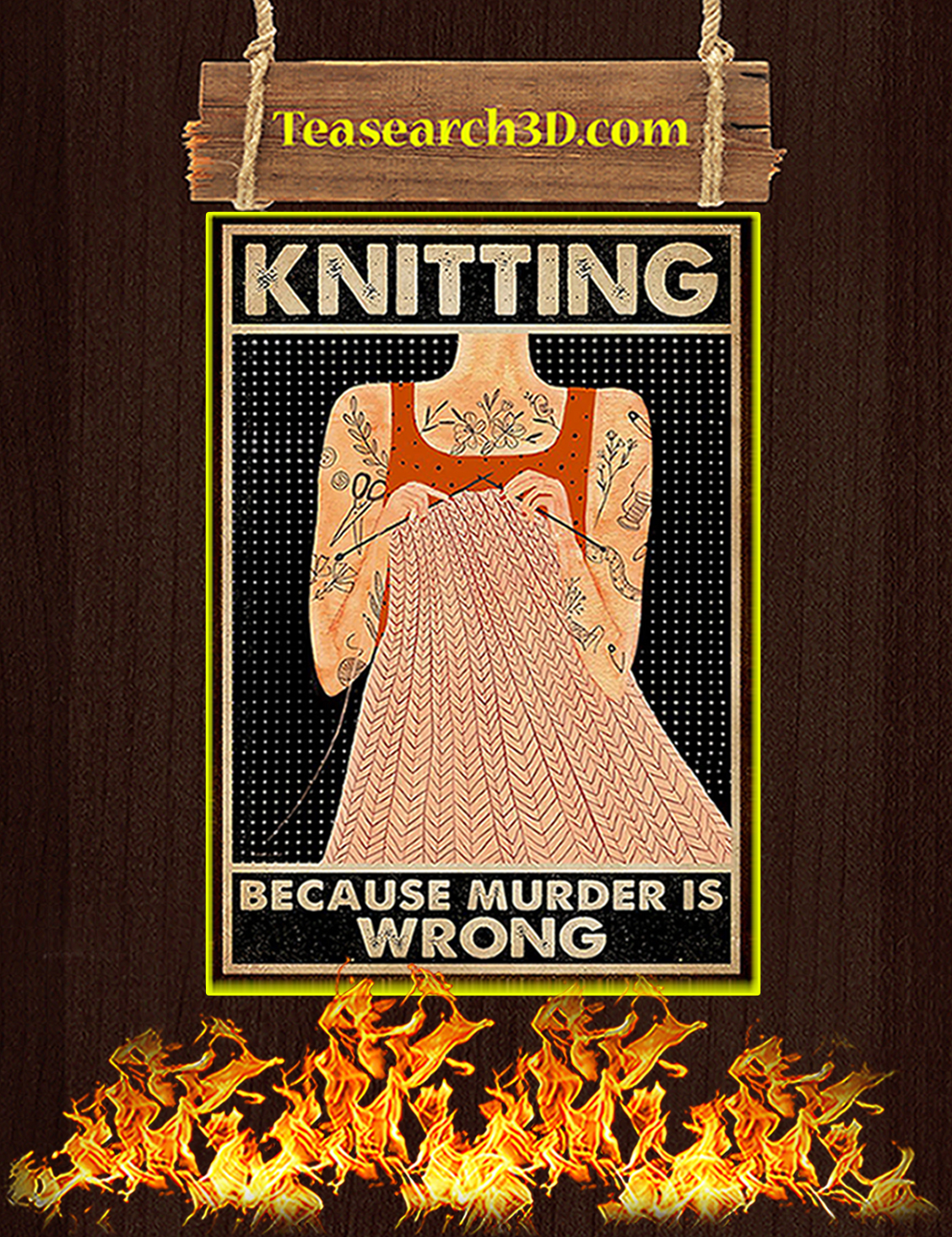 Knitting because murder is wrong poster A3