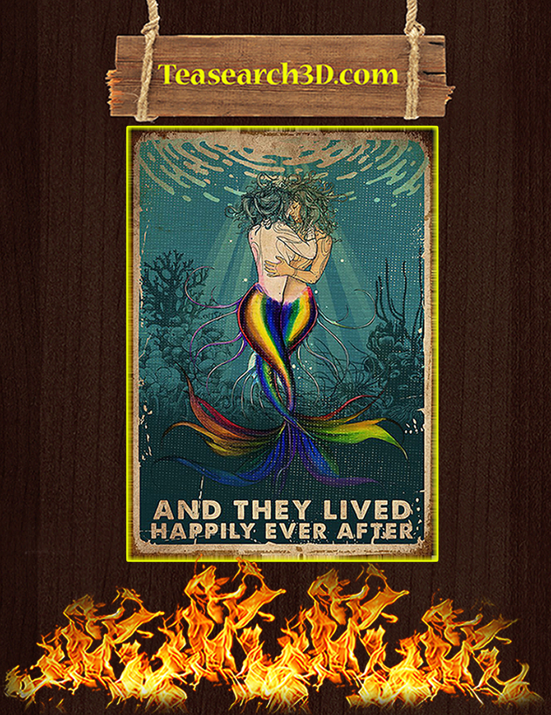 LGBT mermaid and they lived happily ever after poster A3
