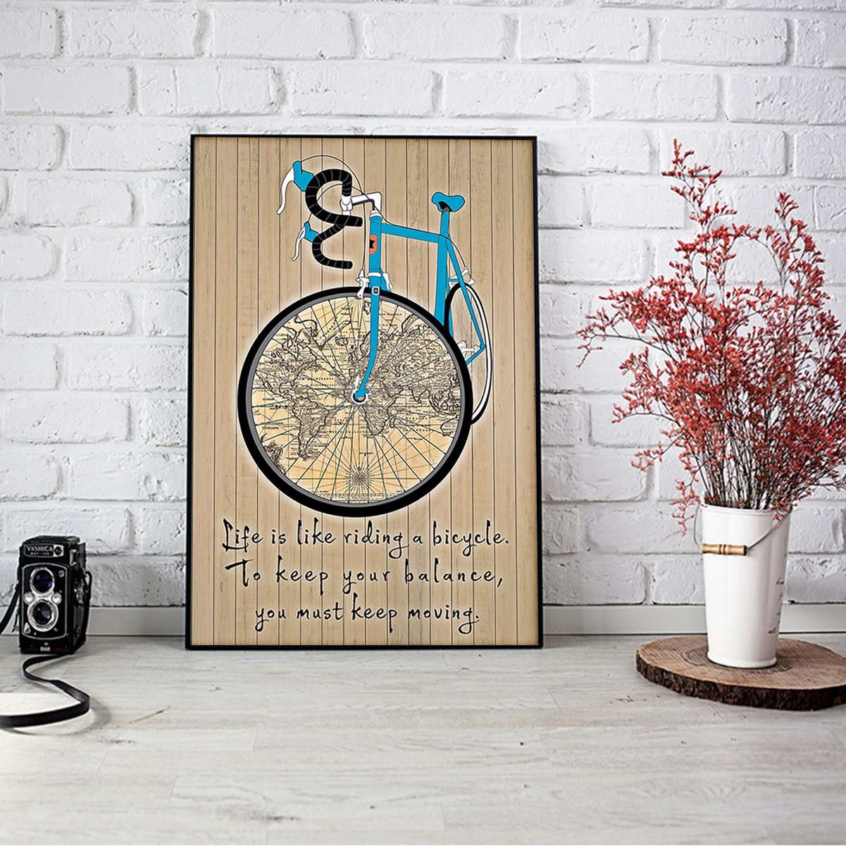 Life is like is riding a bicycle map poster A1