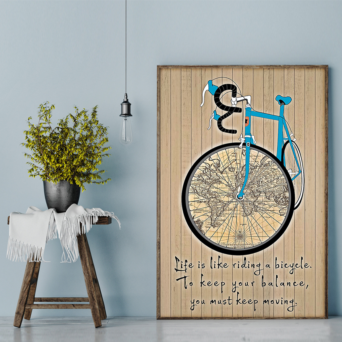 Life is like is riding a bicycle map poster A2