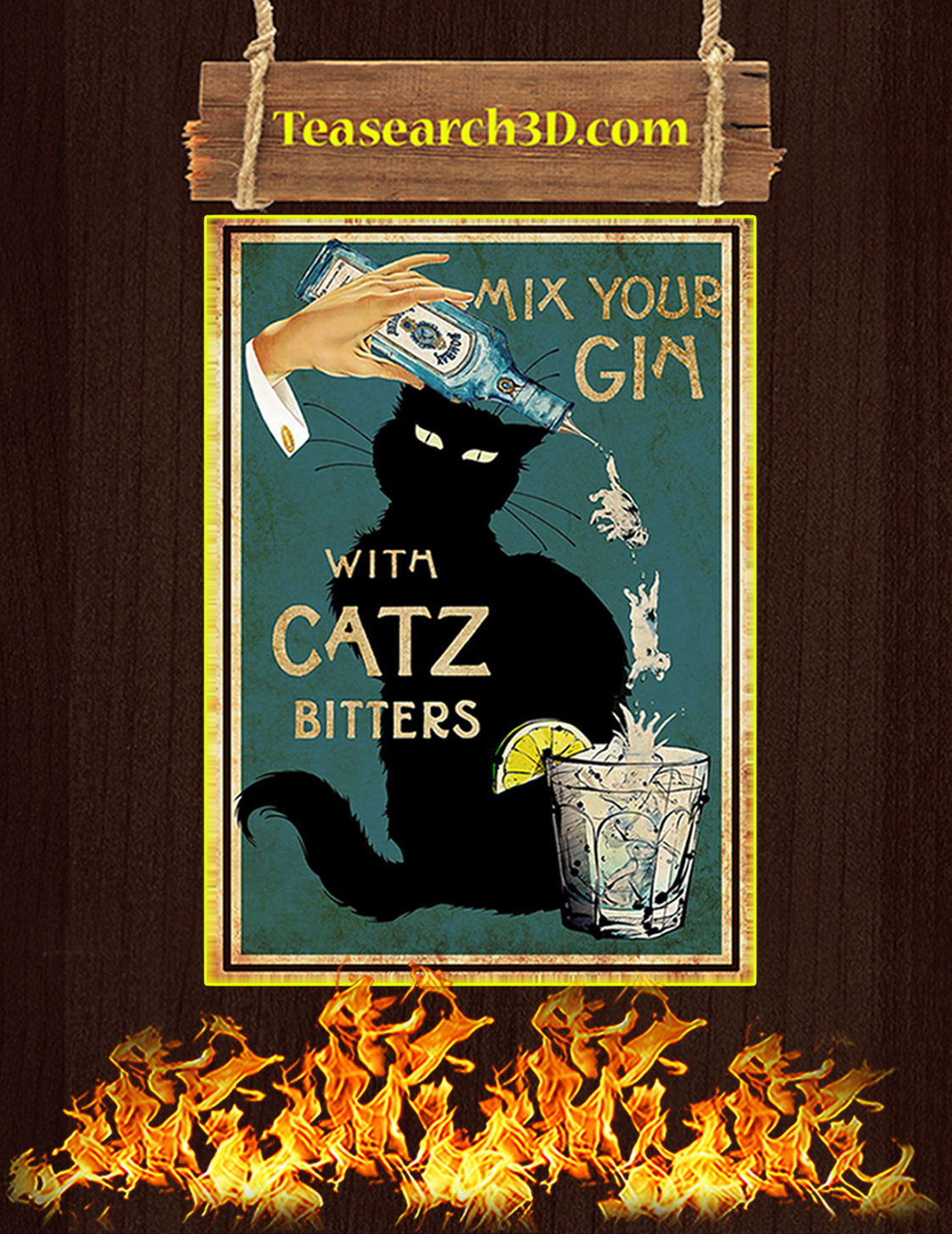 Liquor Mix your gin with catz bitters poster A3