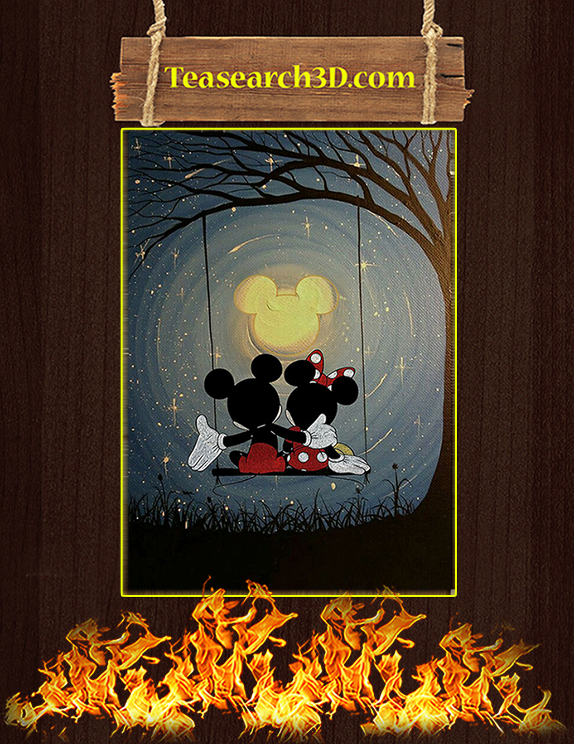 Mickey and minnie the moon poster A3