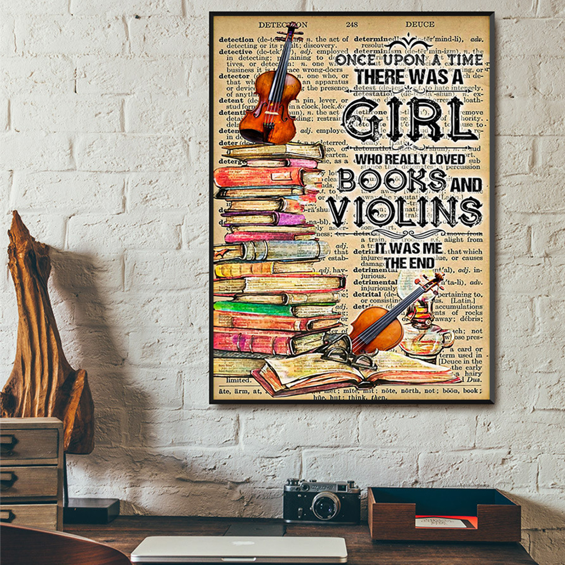 Once upon a time there was a girl who really loved books and violins poster A3