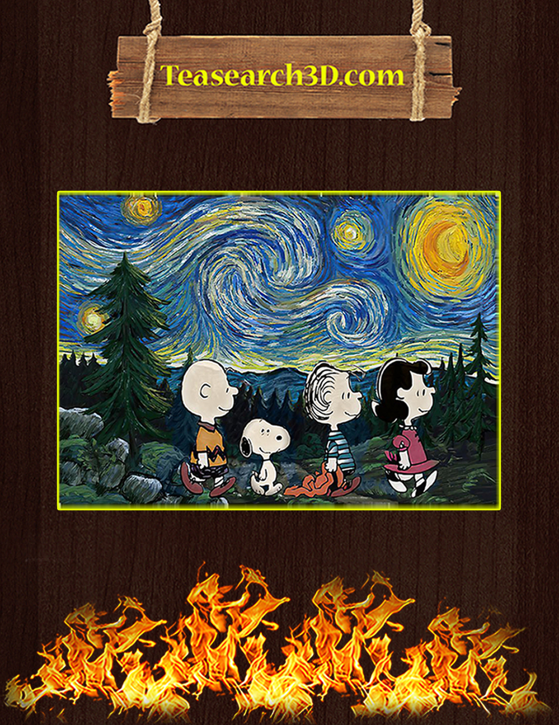 Peanuts starry night poster A3