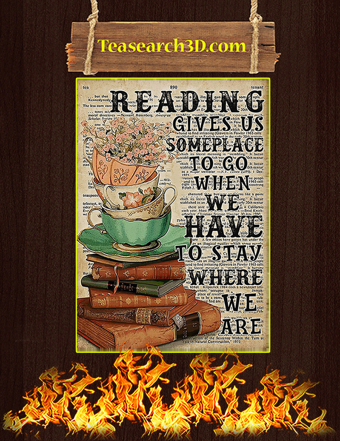 Reading gives us someplace to go when we have to stay where we are poster A2