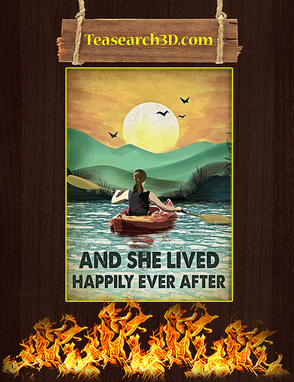 Rowing and she lived happily ever after poster A3