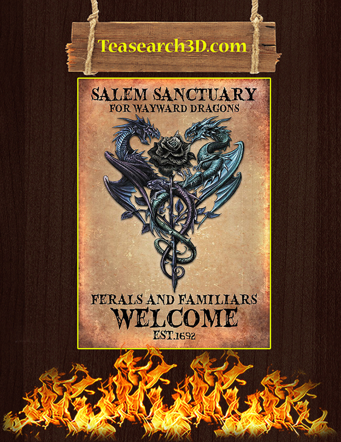 Salem sanctuary for wayward dragons ferals and familiars welcome poster A3