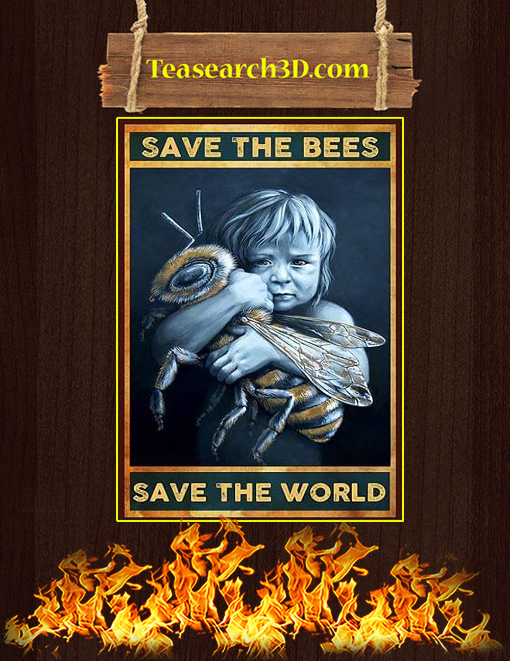 Save the bees save the world poster A1